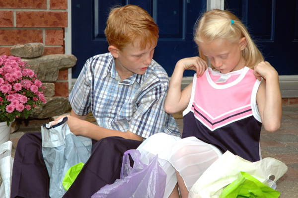 Brother and Sister Back to School Shopping
