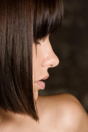 Brown hair with bangs