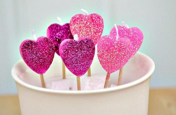 DIY Heart candles