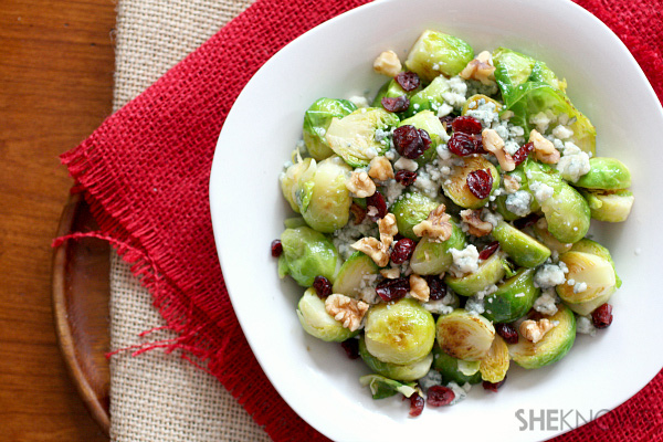 Brussels sprouts with cranberries, blue cheese and walnuts