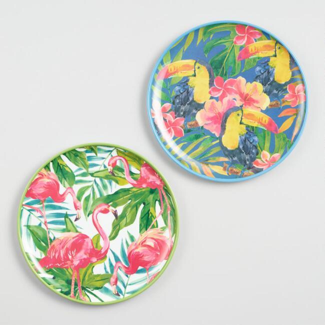 Tropical Melamine Salad Plates