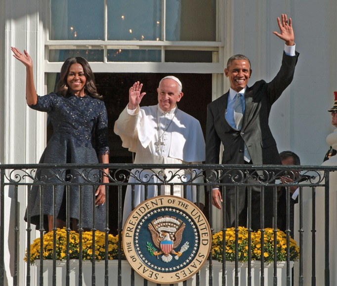 Pope Francis and Michelle and Barack Obama