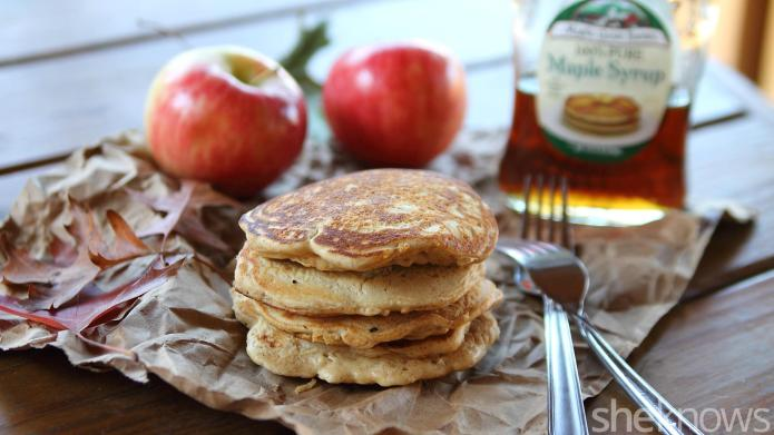 Fluffy apple-gingerbread pancakes make for a