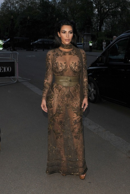 Kim Kardashian's Most Naked Looks: Leaving her hotel to attend the Vogue 100 Gala Dinner | Kim Kardashian Fashion