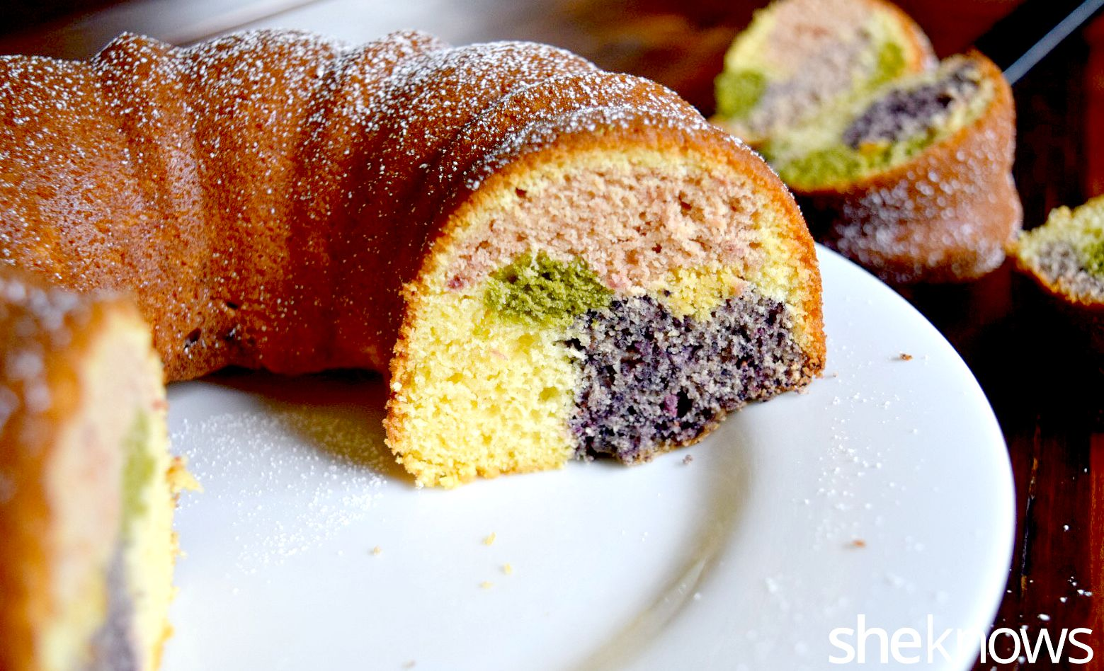 Rainbow bundt cake with natual color