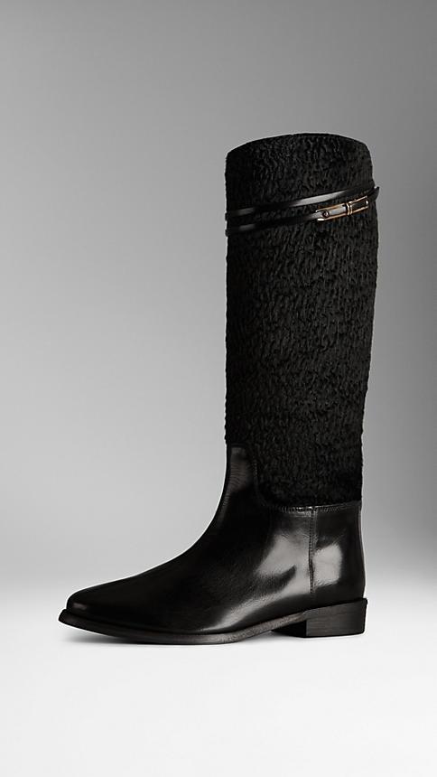 Textured Calfskin Riding Boots (Burberry, $995)