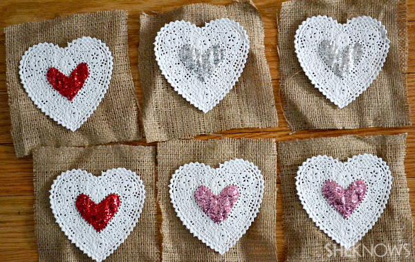 hearts with glitter