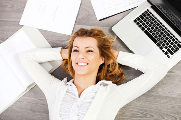 Busy woman relaxing from work | Sheknows.com