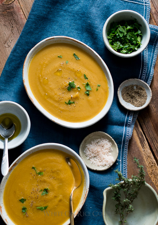 butternut squash soup with truffle oil