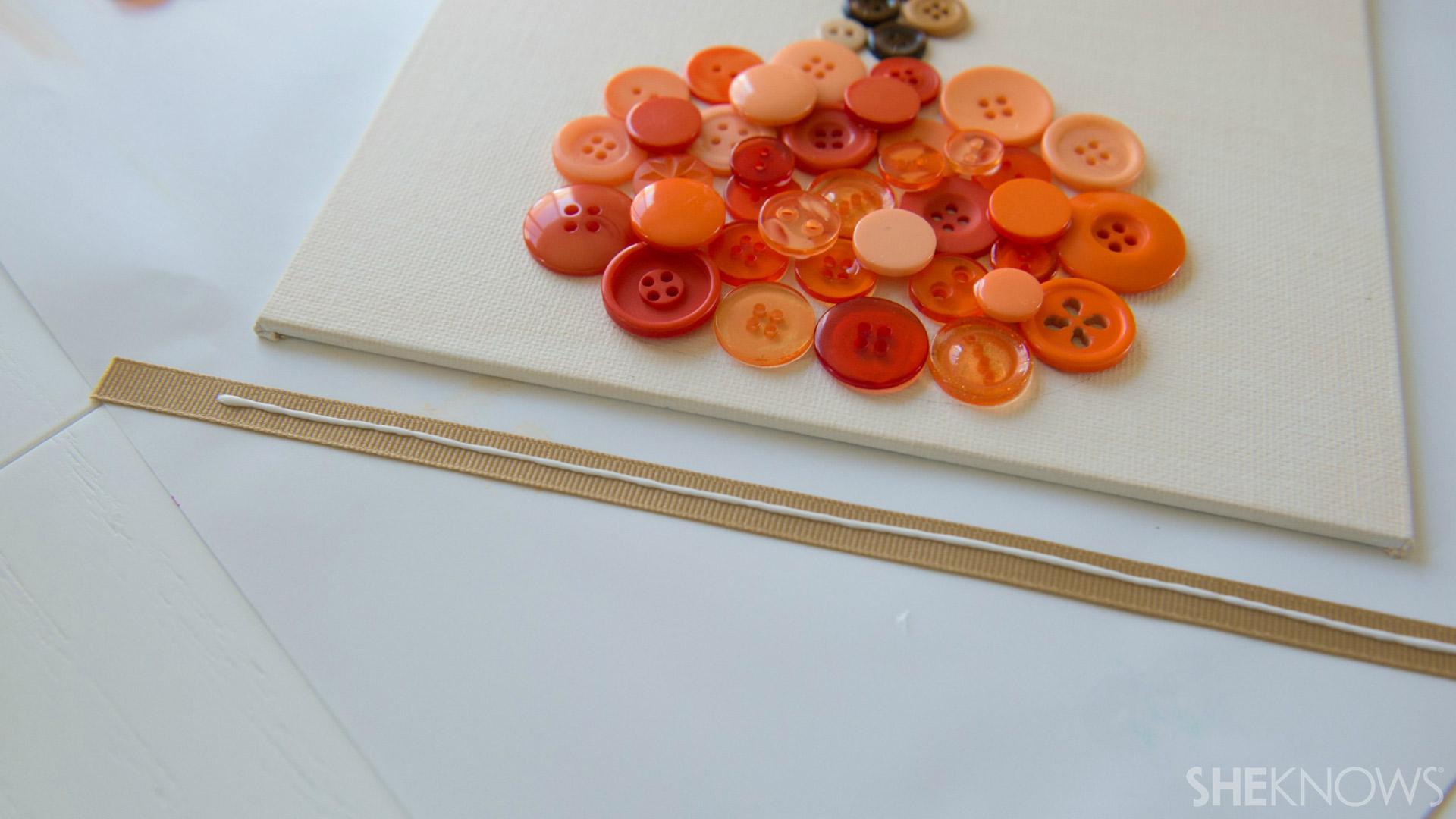 Button pumpkin | Sheknows.com - apply glue to ribbon