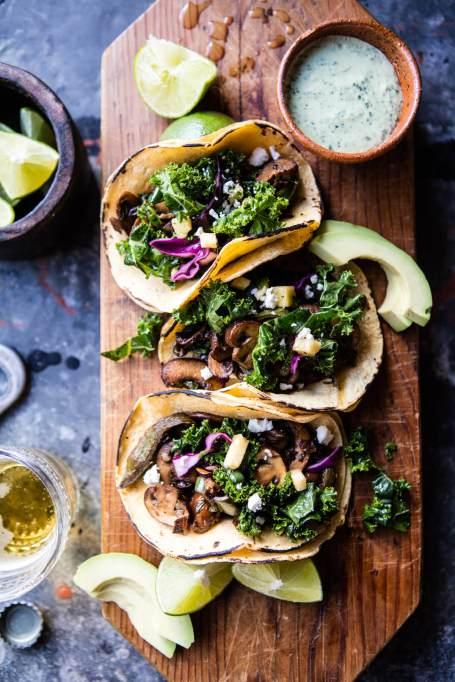 Yogurt recipes | healthy lunch and dinner | mushroom tacos with yogurt sauce