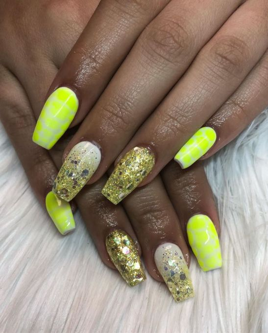 Neon Yellow Nail Art