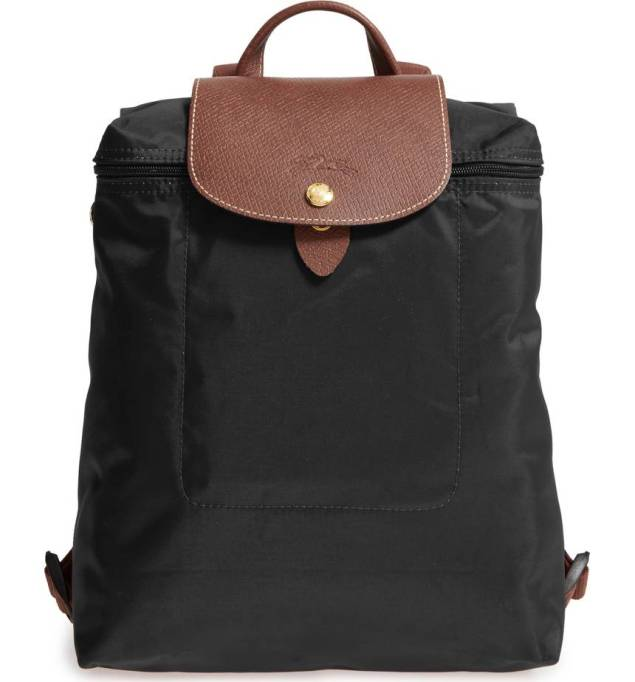 Black backpack with tan top