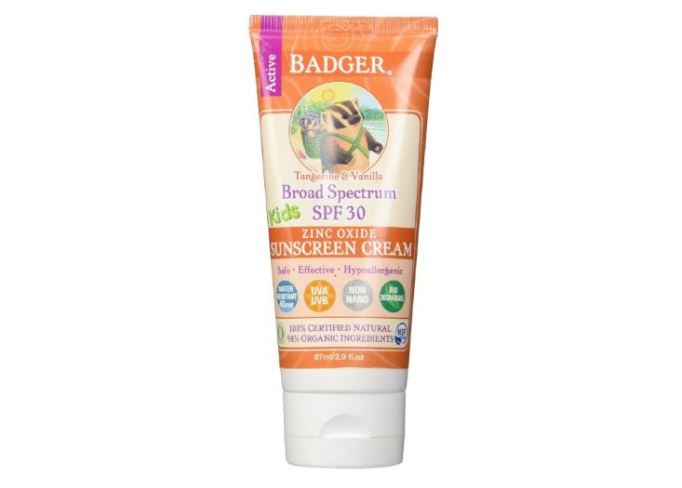 Badger Kids sunscreen cream, SPF 30