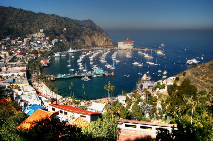 View of Avalon on Santa Catalina Island, CA