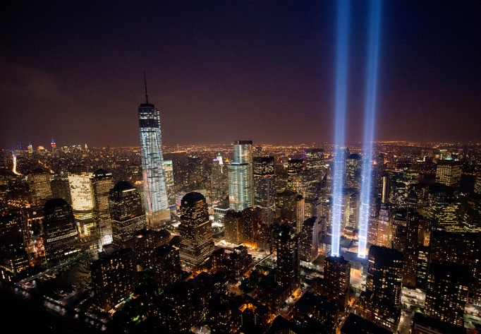 A view over New York City and the 'Tribute In Light'