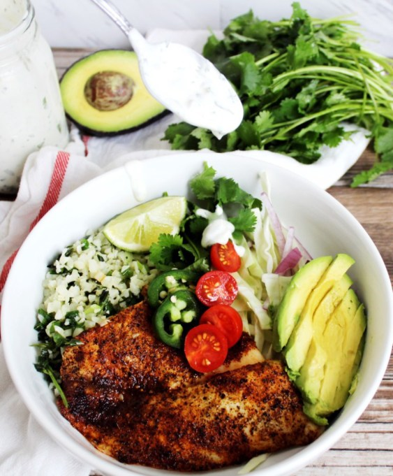 Fish Taco Bowls with Cilantro Lime Cream Sauce