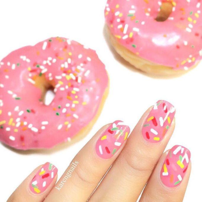 Doughnut Sprinkles Nail Art