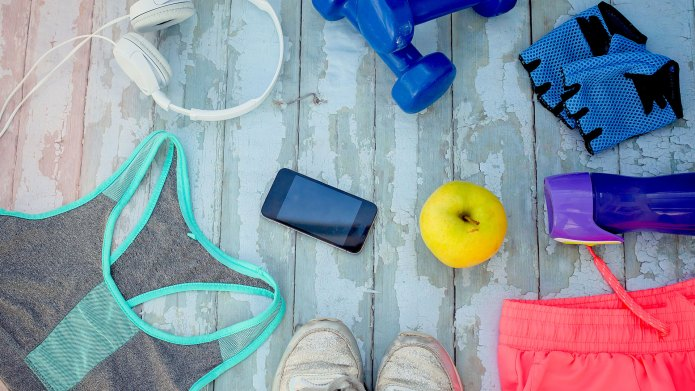 An array of exercise equipment on