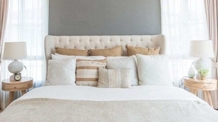 Bedroom in soft light colors. big