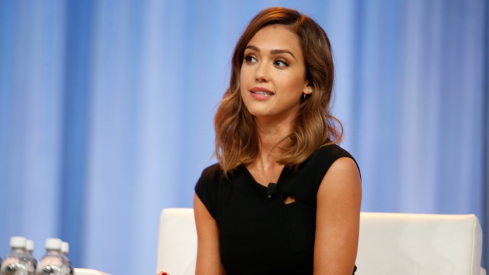 Jessica Alba speaks during a keynote