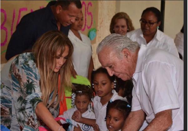 Alex Rodriguez and Jennifer Lopez help kids in need