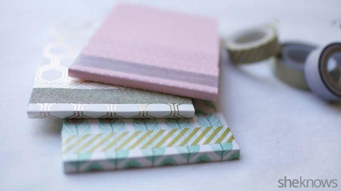 Easy DIY paper-covered notebooks make pretty