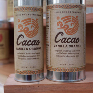 Cacao vanilla orange-flavored mix for hot chocolate