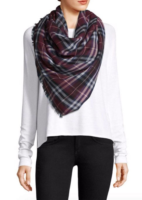 Blanket Scarves to Keep You Cozy This Fall and Winter: Burberry scarf at Saks Fifth Avenue   Fall and Winter Fashion 2017