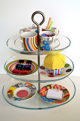 desk organizer made from cake stand