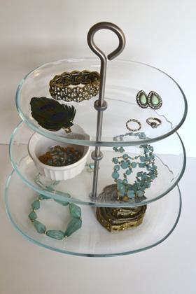 Jewelry on cake stand
