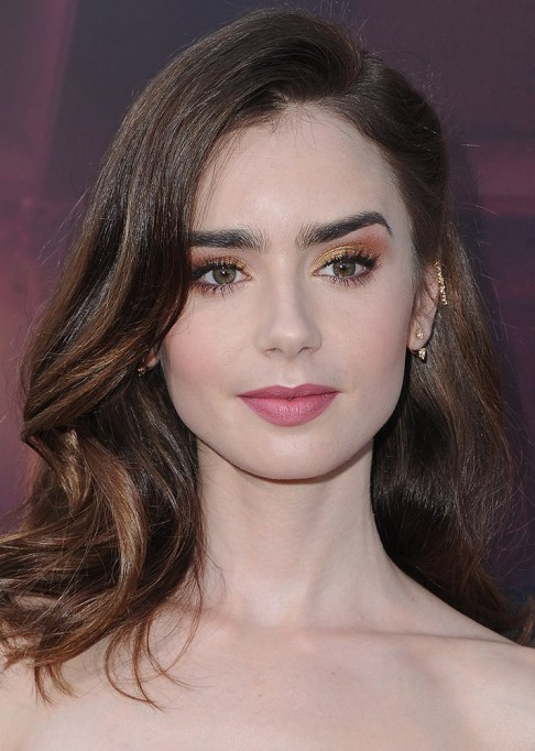 Celebrity-Inspired Ways to Wear Pink Lipstick | Lily Collins in pink lipstick | Celeb Style Trends 2017