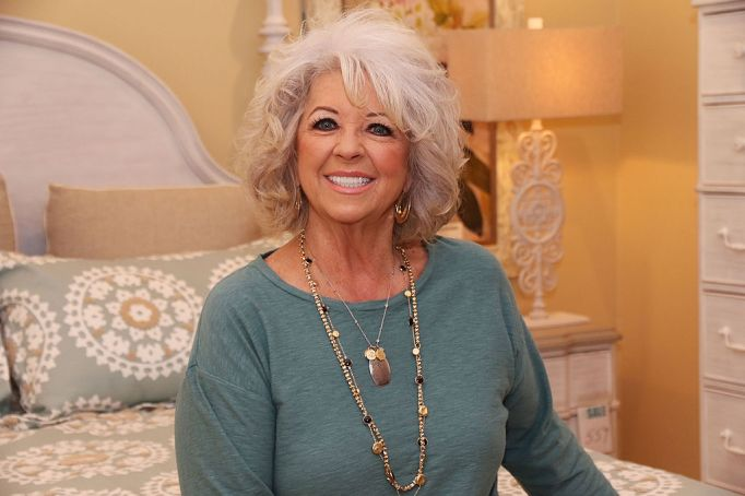 Paula Deen in a light blue sweater