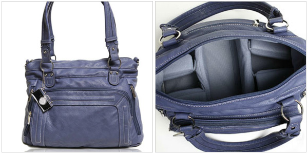 Ginger camera bag in sapphire, epiphaniebags.com, $165