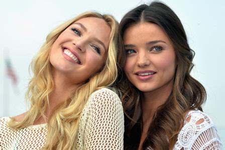 Victoria's Secret models Miranda Kerr and Candice Swanepoel on beach beauty tips for SheKnows Beauty Beat.