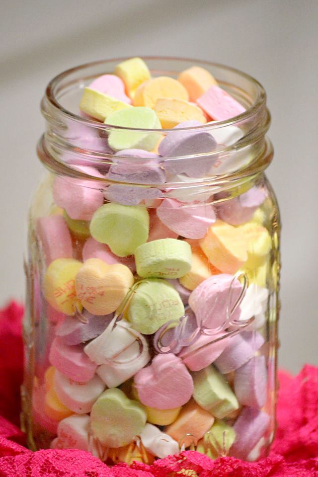 Candy hearts in a jar