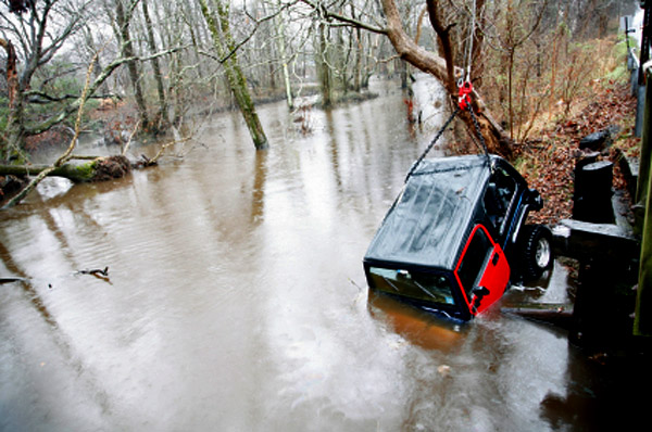Car crash into river