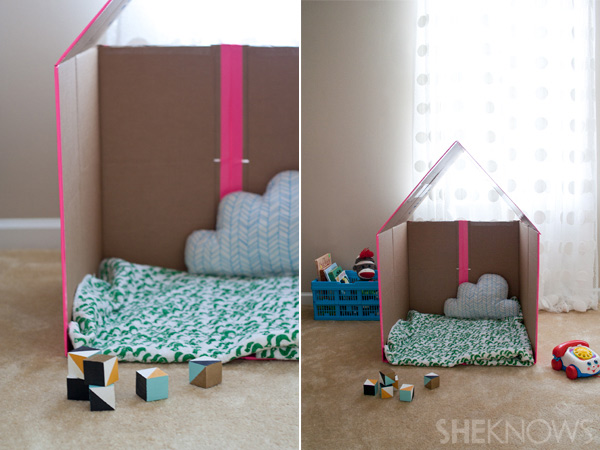 cardboard playhouse set up