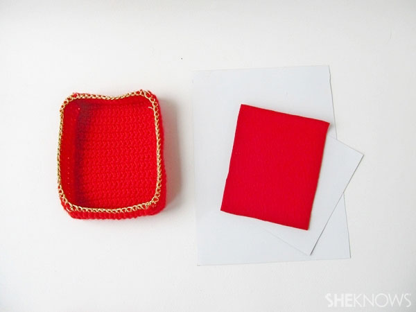 Valentine's Day crochet box of chocolates: Cut cardboard