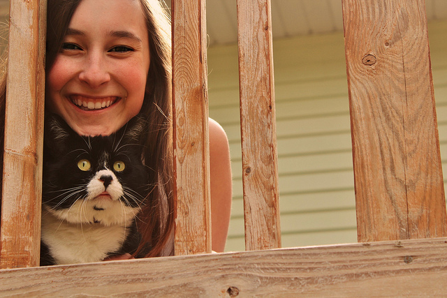 Cat and girl on porch