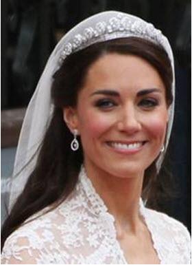 Close-up of Kate Middleton's tiara