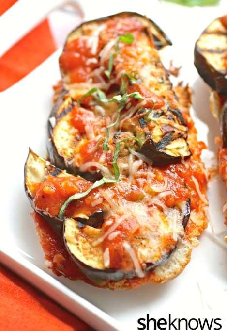 Grilled eggplant marinara sandwiches