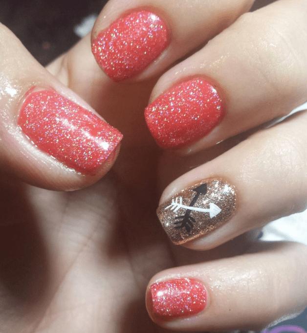 Glitter Valentine's Day nails