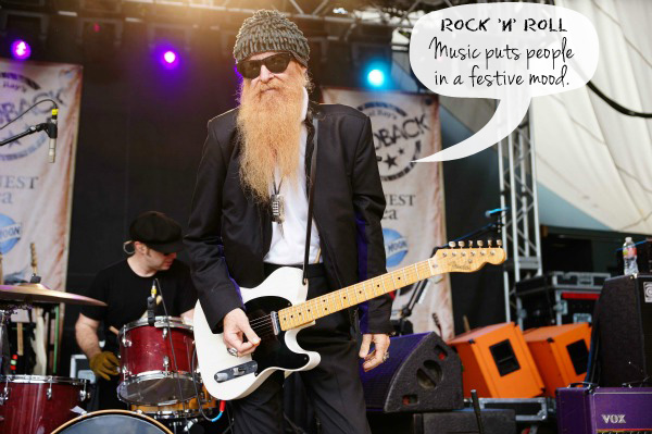 Billy Gibbons performing at the Rachel Ray Feedback Party
