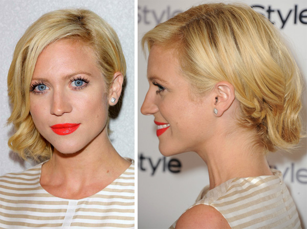 Brittany Snow's sideswept hairstyle