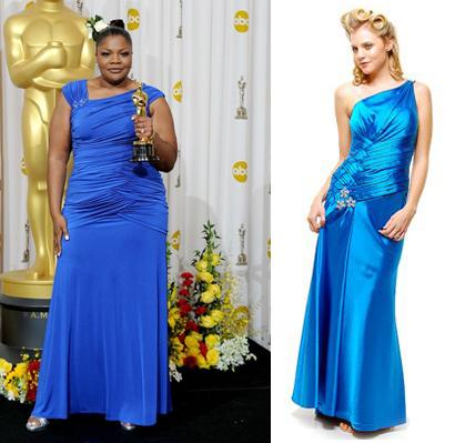 Bodice Blue Satin Rhinestone Gown