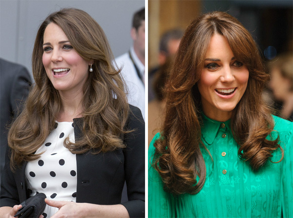 Kate Middleton with and without bangs