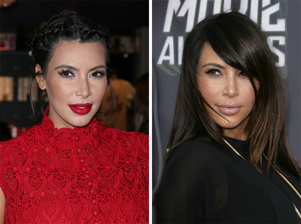 Kim Kardashian with and wthout bangs