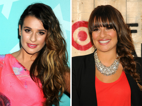 Lea Michele with and without bangs