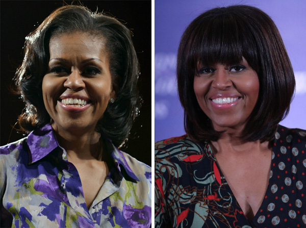 Michelle Obama with and without bangs
